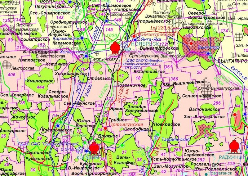 Карта Западной Сибири
